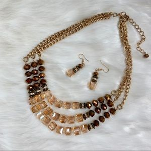 Brown & Gold Statement Jewelry Set